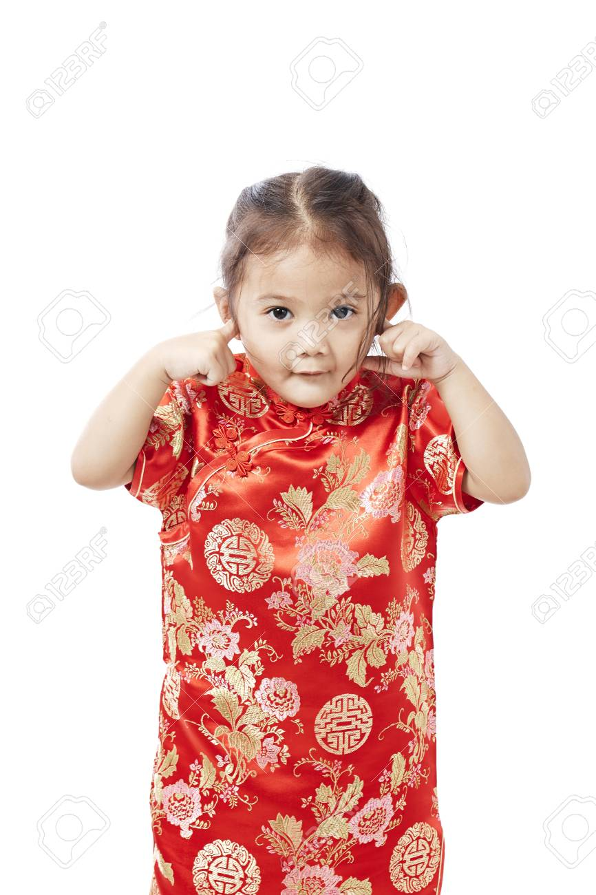 236b7f6c3951 Little asian child in chinese traditional dress, Chinese New Year Stock  Photo - 92983442