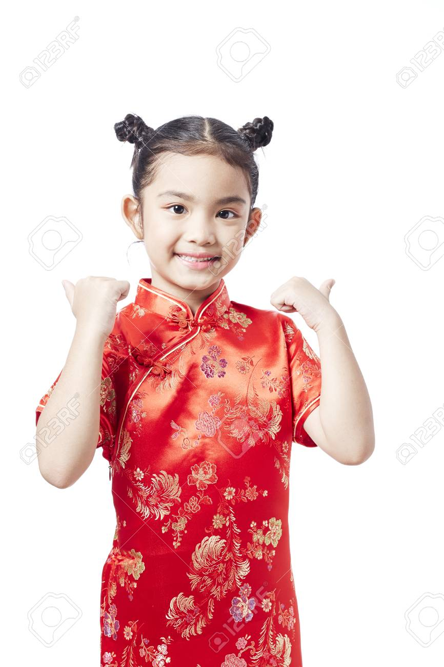 ceaa56b9bc81 Little asian child in chinese traditional dress, Chinese New Year Stock  Photo - 92948839