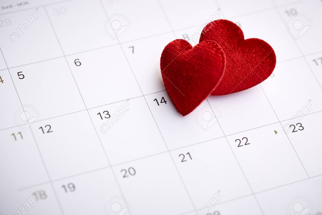 February 14 Calendar 2019 Calendar With Red Mark On 14 February 2019. Valentine's Day