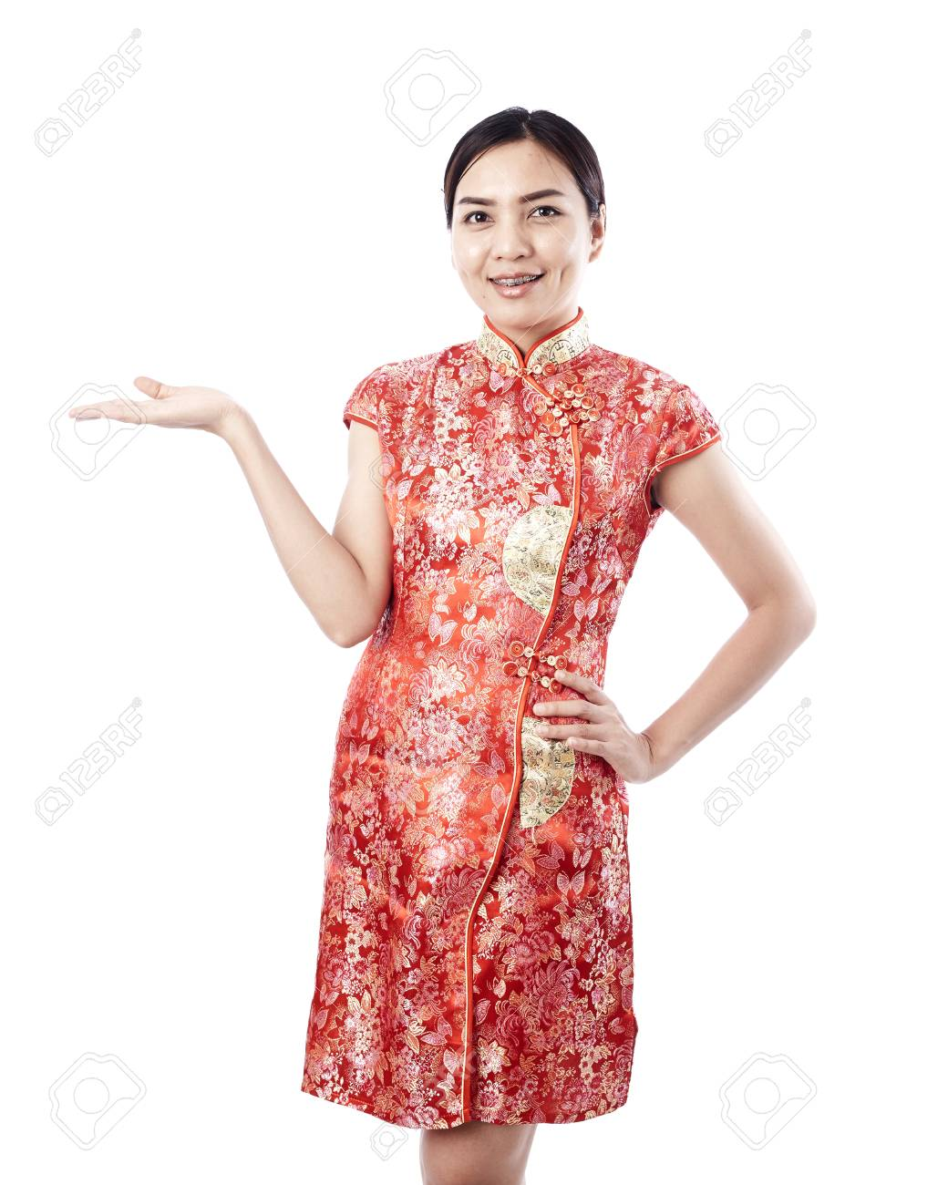 Asiatisches Mädchen Gruß In Traditionellen Chinesischen Neujahr ...