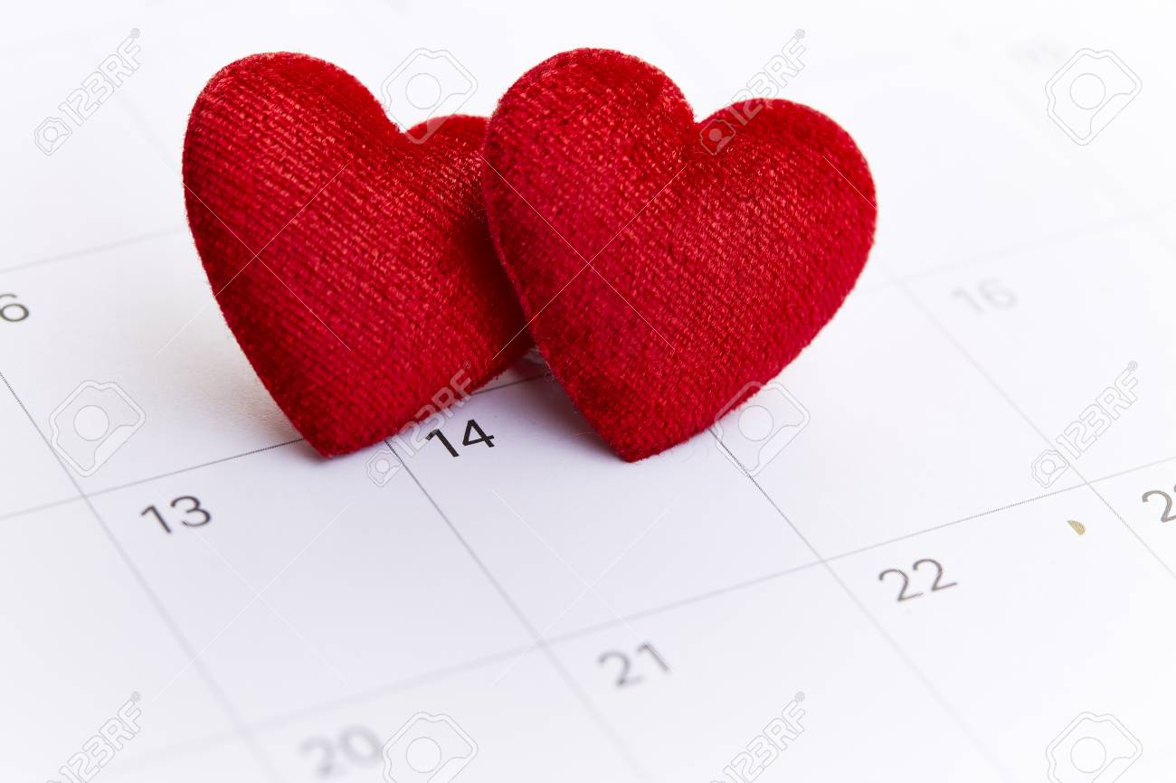 Calendar With Red Mark On 14 February 2019 Valentine S Day Concept