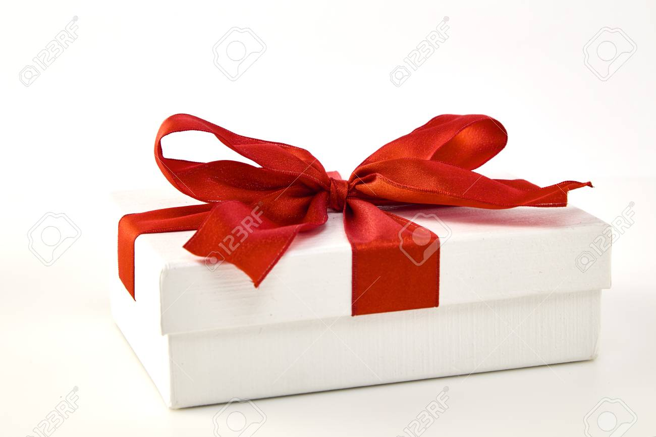 Box And Big Red Bow Christmas And New Years Day Open Red Gift