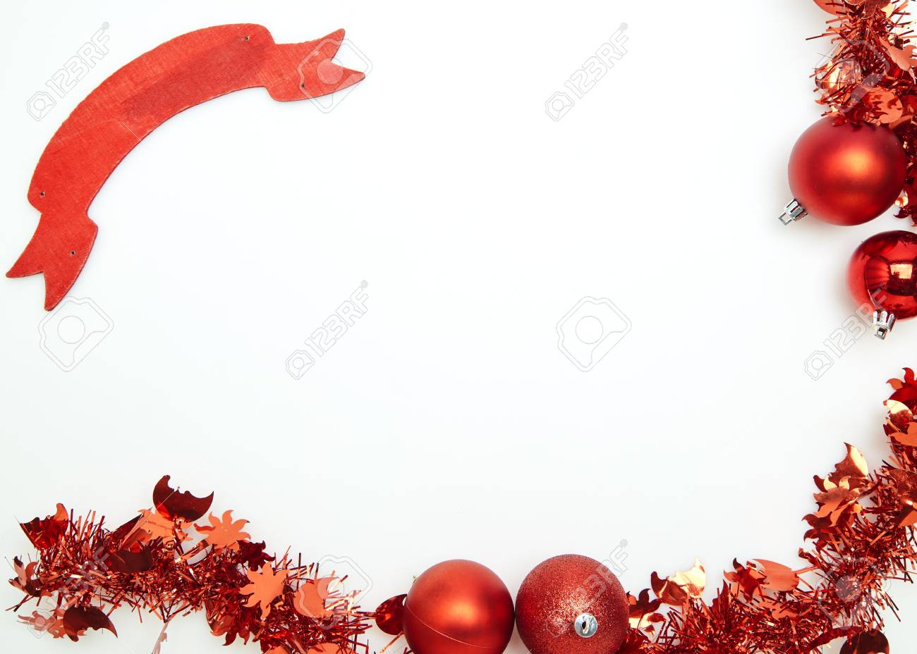 New year Christmas red tinsel on a white background - 110647868