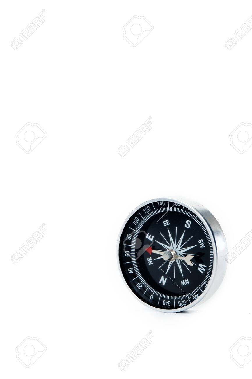 Close up compass on white background Educational and business concepts copy space for text - 133944762