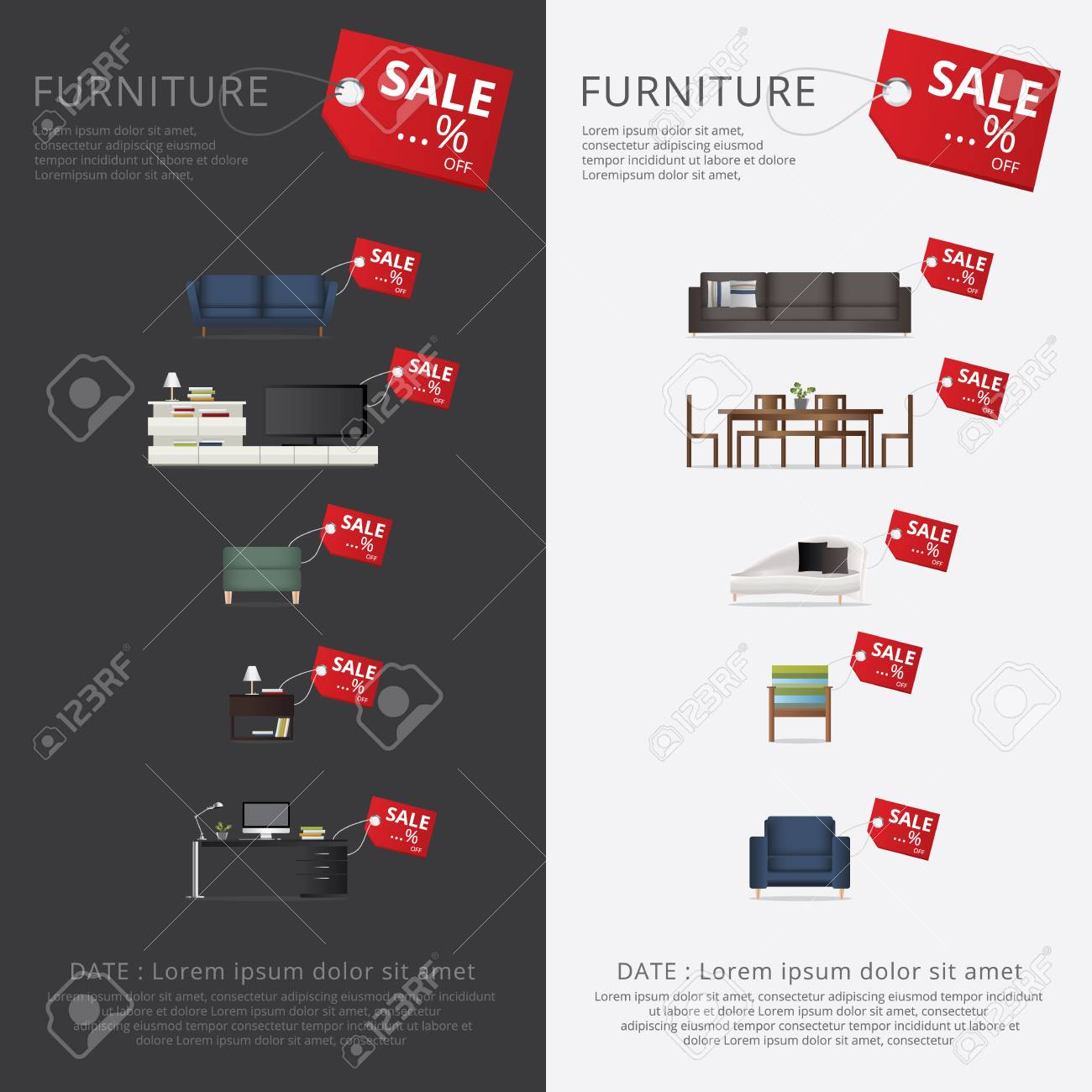 Banner Furniture Sale Advertisement Royalty Free Cliparts Vectors