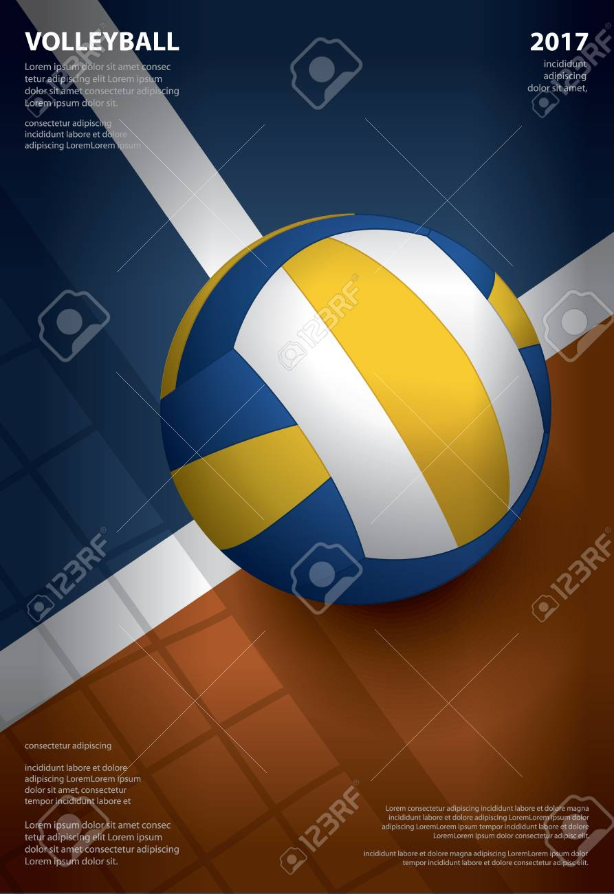Volleyball Tournament Poster Template Design Vector Illustration ...