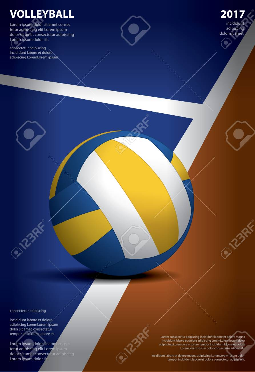 Volleyball Tournament Poster Template On A Colored Background Royalty Free Cliparts Vectors And Stock Illustration Image 97480188
