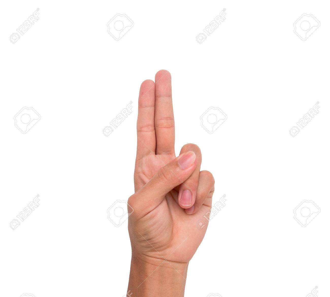 A Hand Sign 2 Fingers Point Upward Meaning Two Second Etc Stock