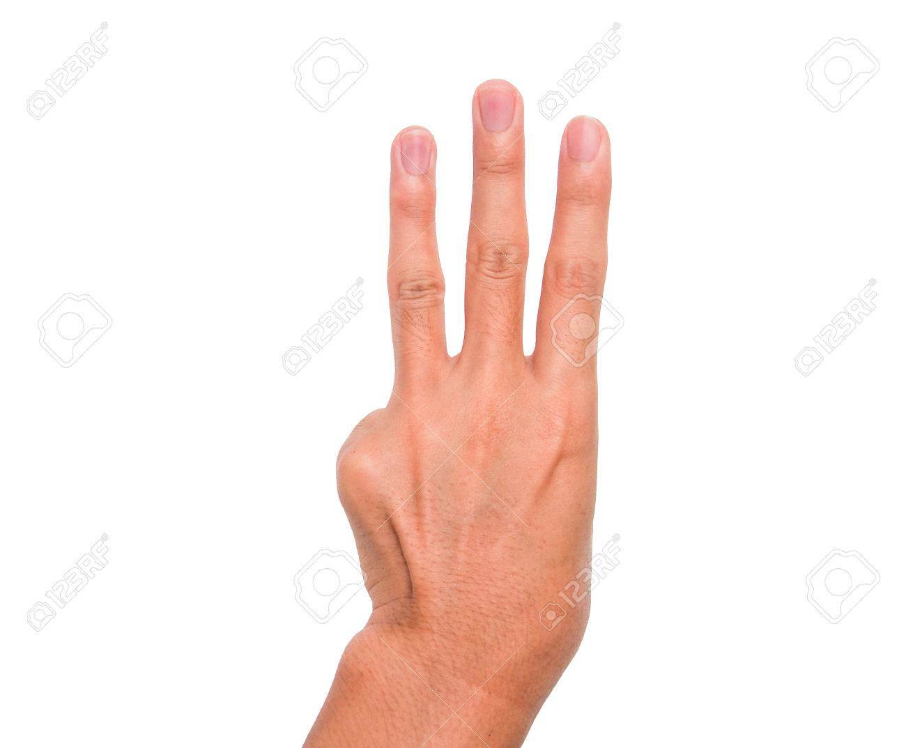 A Hand Sign Of 3 Fingers Point Upward Meaning Three Third Etc