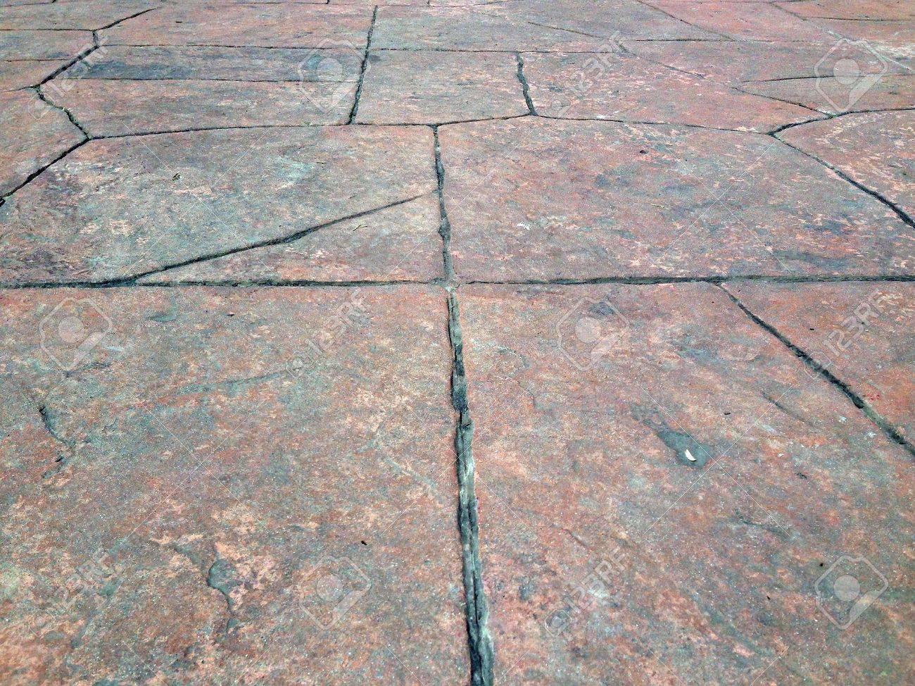 foto de archivo suelo de piedra roja bloque