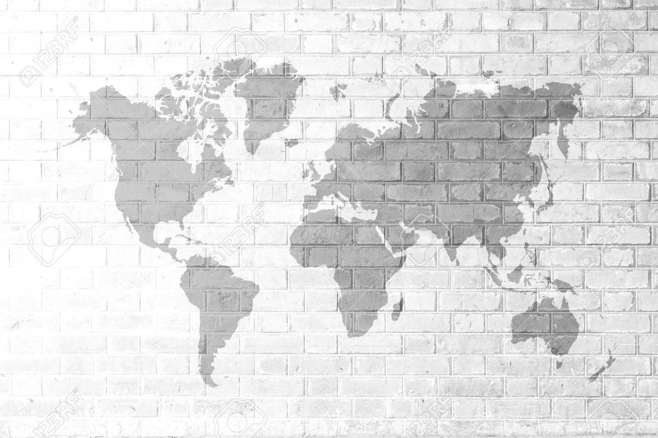 Red Brick wall texture background Soft tone White color with world map - 37444498
