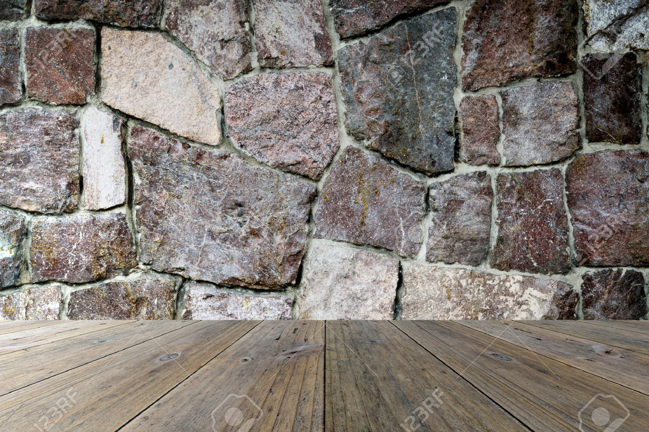 Wood terrace and stone wall interior texture background - 39813493