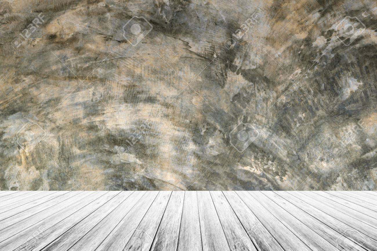 Stock Photo   Wood Terrace And Polished Bare Concrete Wall Interior Texture  Background