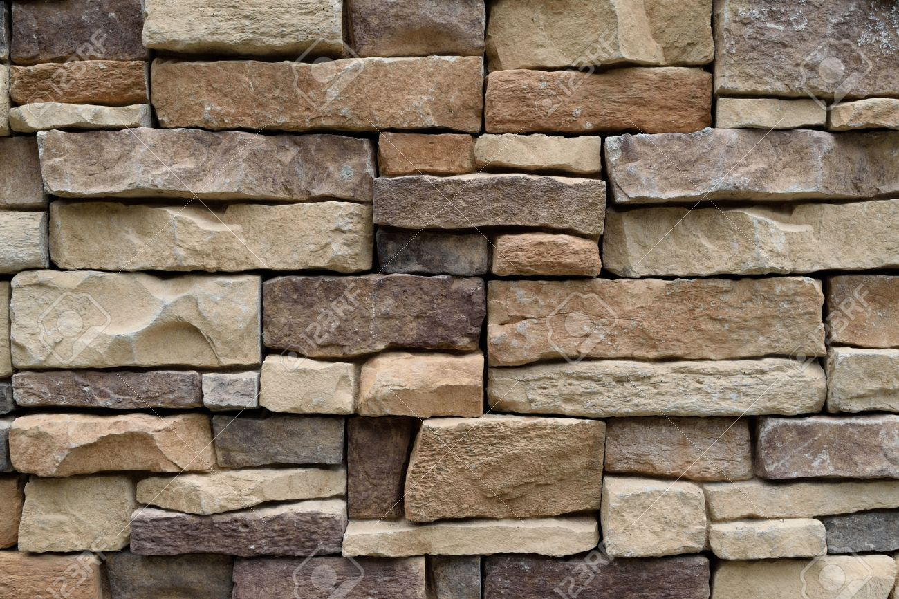 Stone wall texture background natural color - 43275923