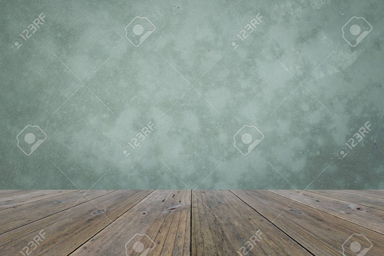 Attractive Wood Terrace And Polished Bare Concrete Wall Interior Texture Background  Stock Photo   43637369