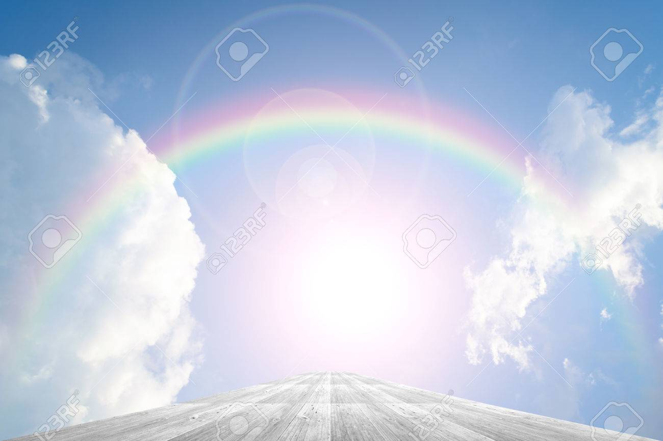 Wood terrace and Blue sky and white cloud with rainbow - 44300251