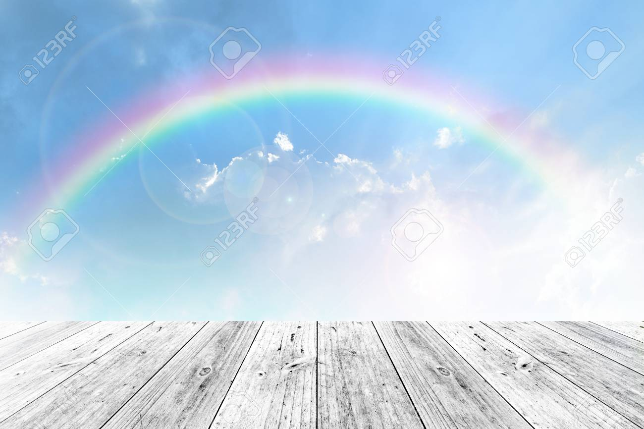 Wood terrace and Blue sky and white cloud with rainbow - 44300253