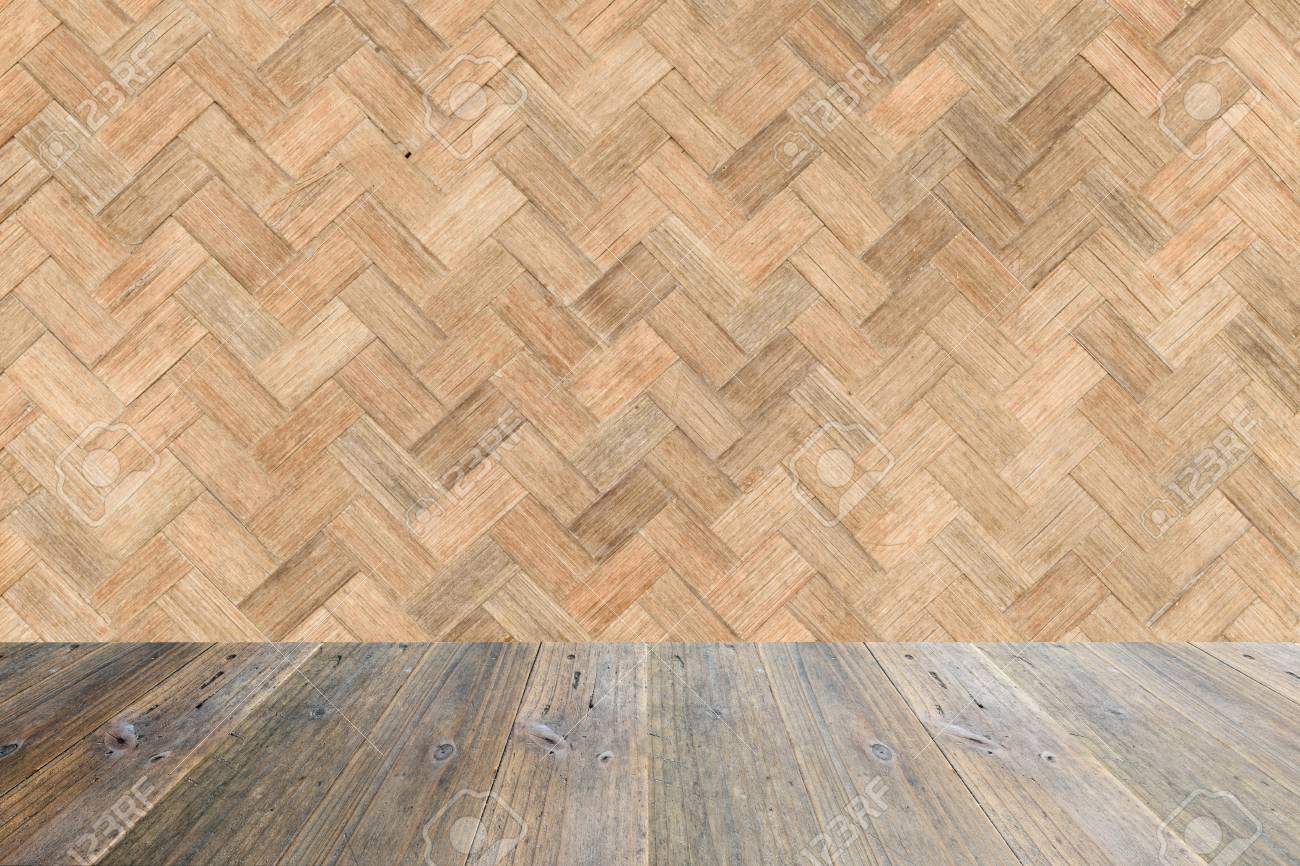Terraza De Madera Y Tejido De Bambú Textura De La Pared De Fondo De Color Natural