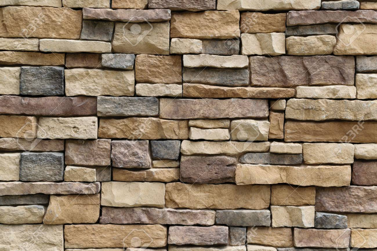 Stone wall texture background surface natural color - 46981881