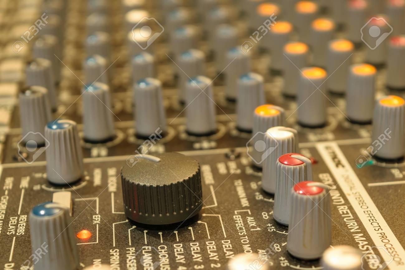 Sound mixer control  Selective focus on volume buttons