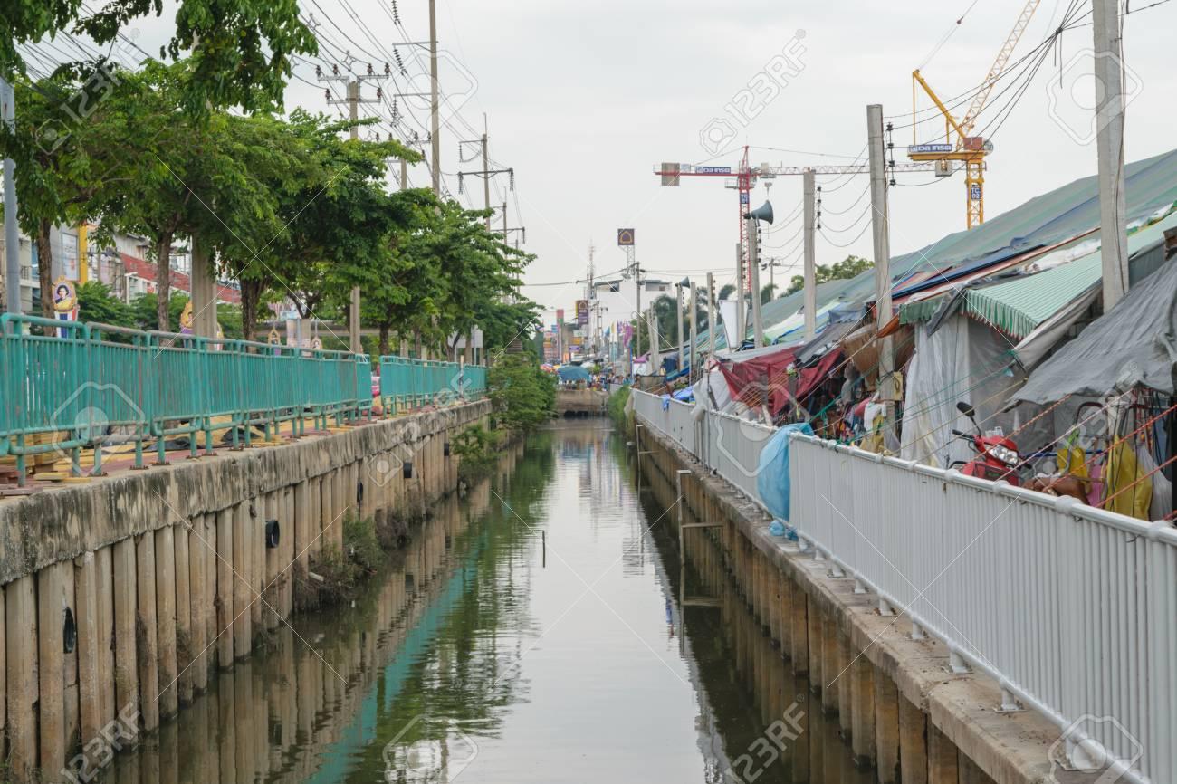 Bangkok, Thailand - September 11, 2015 : The polluted canal near