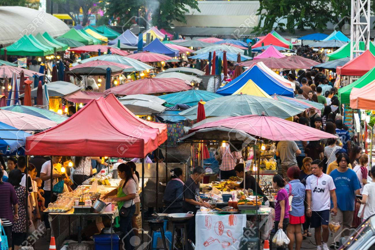 Bangkok, Thailand - December 7, 2015 : Thai exotic food in street food market. Like the charming people, exotic foods greets you on almost every corner in Thailand. - 54010945