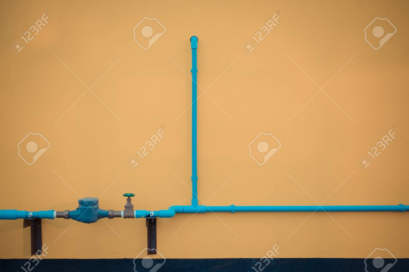 Minimalism Style, Blue Water Pipe With Faucet Valve On Yellow ...