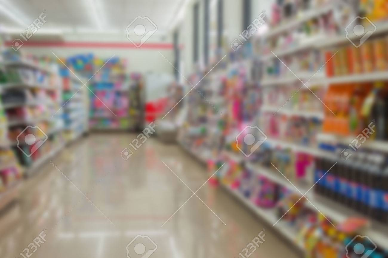 Blurred of Many types of goods in convenience store. - 61650798