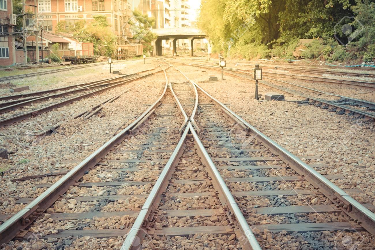 Railroad tracks crossing of a Public Thai Train Railway , process