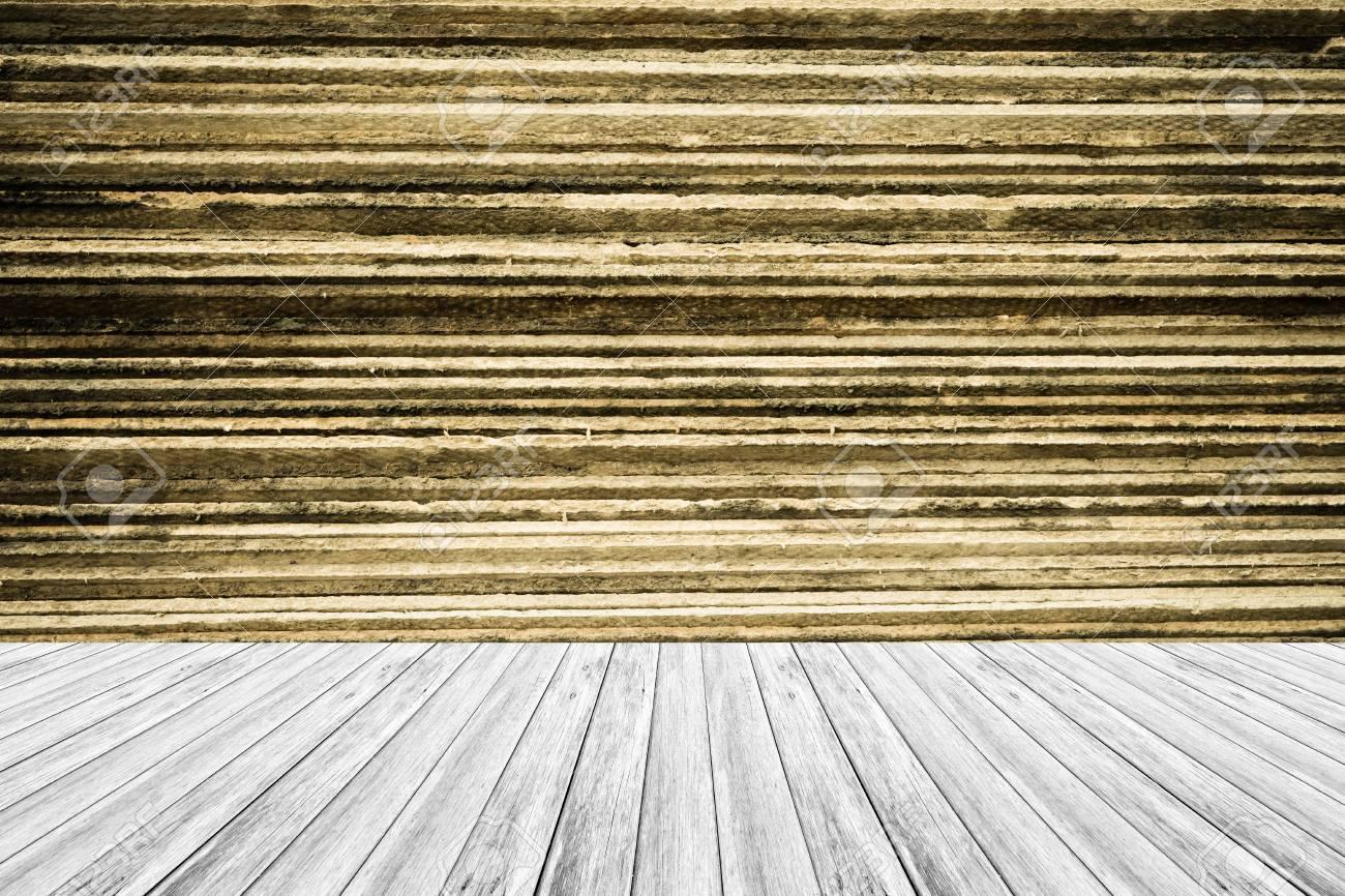 Terraza De Madera Y La Textura De La Pared De Fondo De Color Natural Proceso En El Estilo De Superficie Vintage