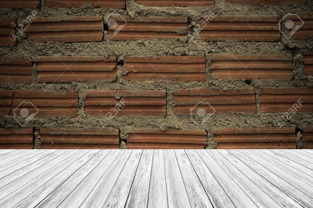 Textura De La Pared De Ladrillo Rojo De Color Natural De La Utilización De Texturas Para El Fondo Proceso En El Estilo De época Con Terraza De