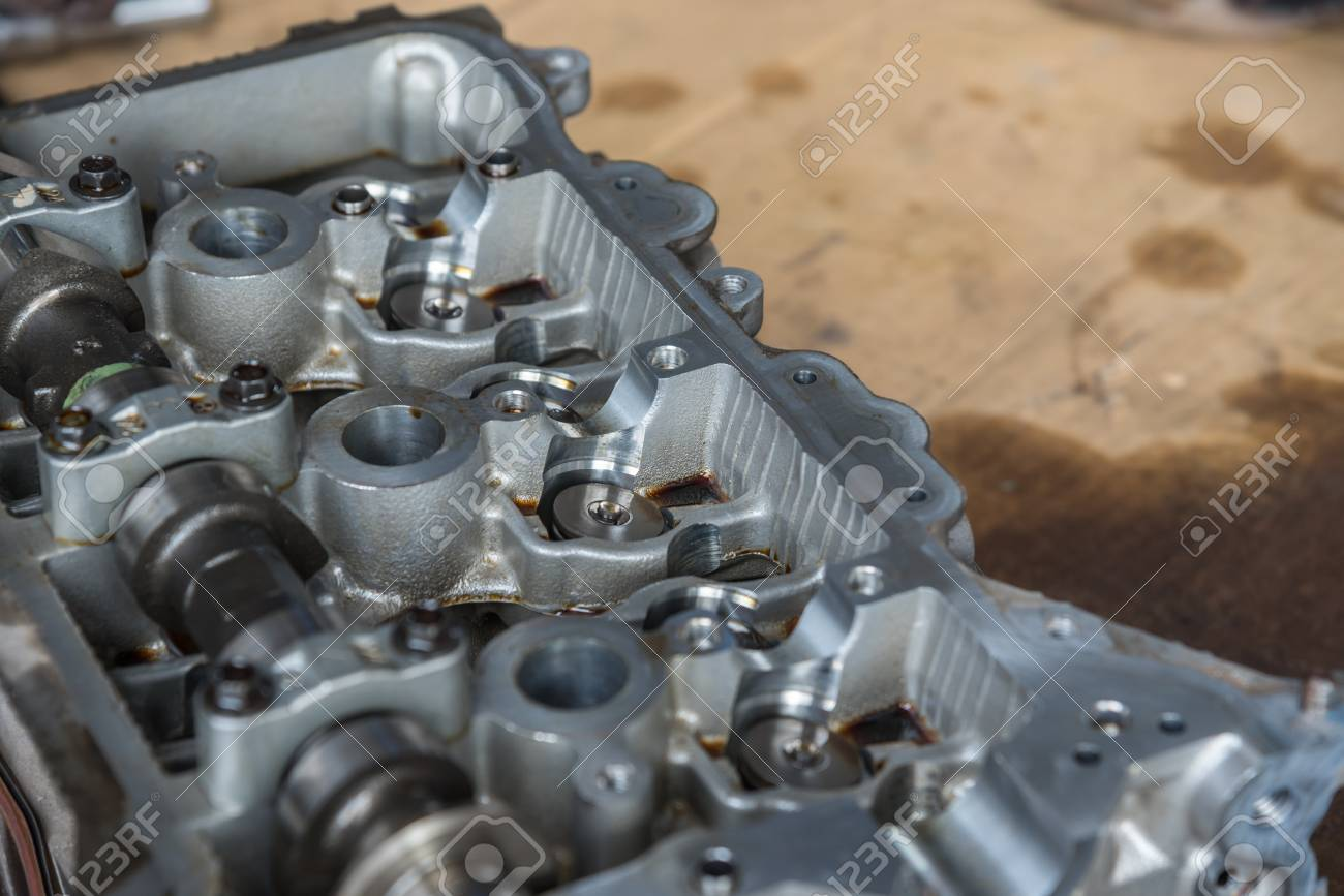 Disassembled Car Dirty Engine Close Up To Engine Parts And Cylinder