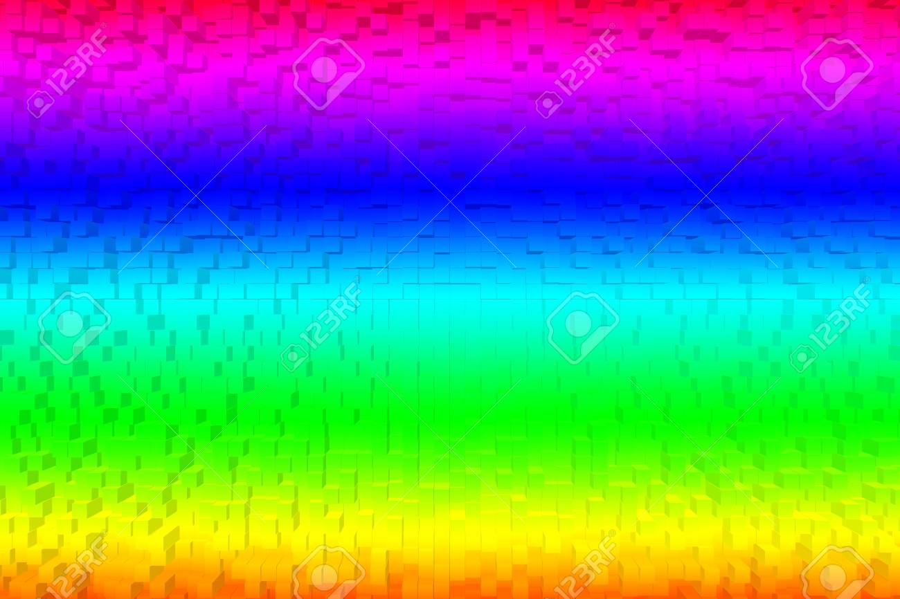 Colorful Rainbow Abstract Background Rgb Color 8bit 3d Block