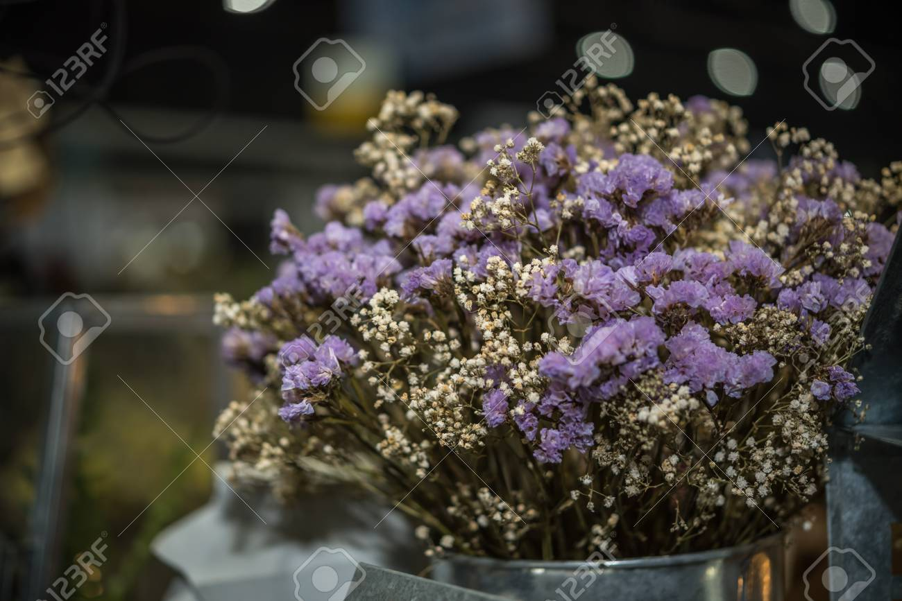 Dried Flowers With Statice Flower In Bouquet Purple And Yellow Stock Photo Picture And Royalty Free Image Image 91390098