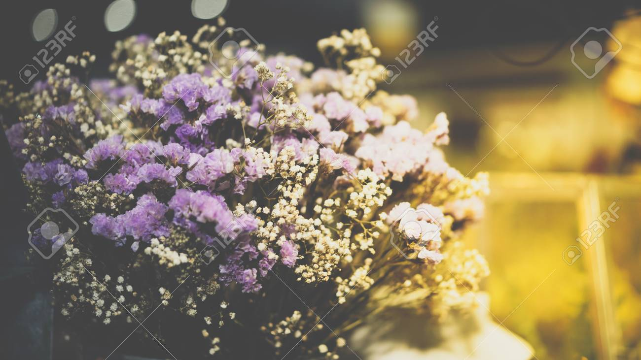 Dried Flowers With Statice Flower In Bouquet Purple And Yellow Stock Photo Picture And Royalty Free Image Image 91508795