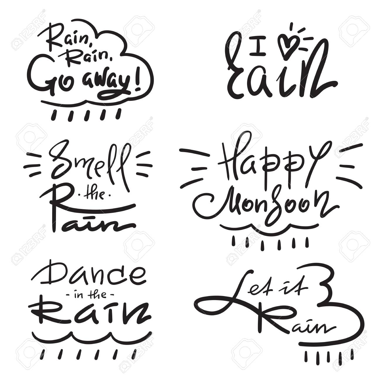 Set Of Simple Inspire And Motivational Quotes About Rain Hand
