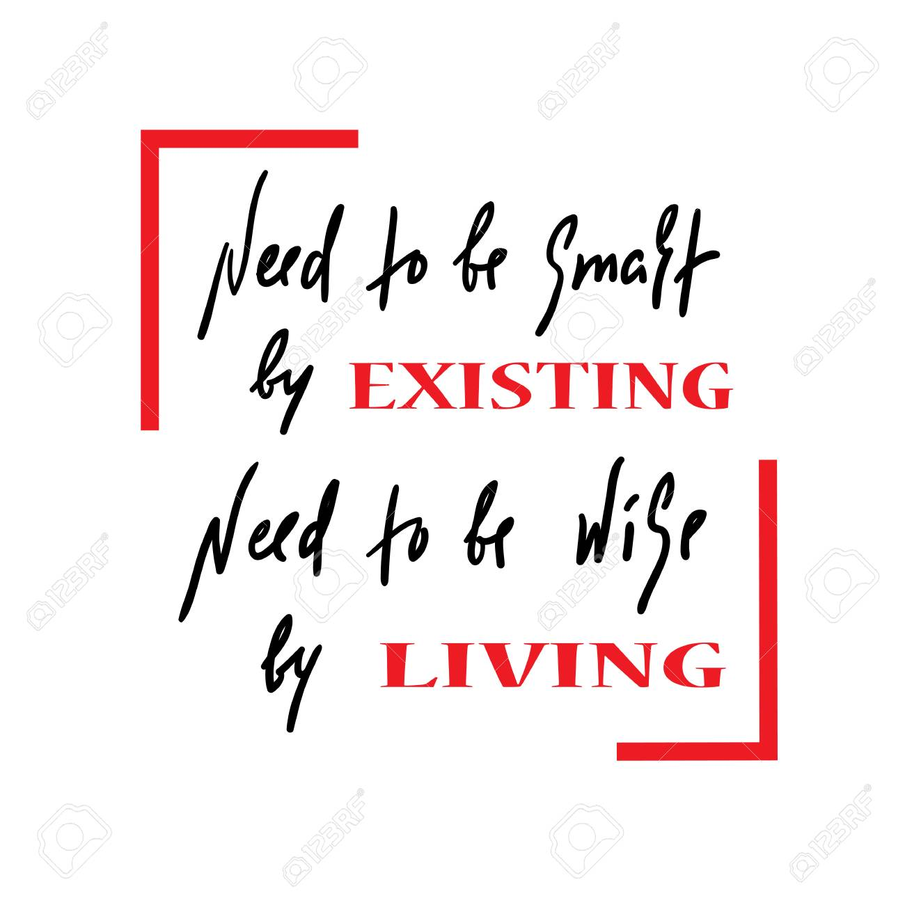 Existing And Living Quote Hand Drawn Beautiful Lettering Print
