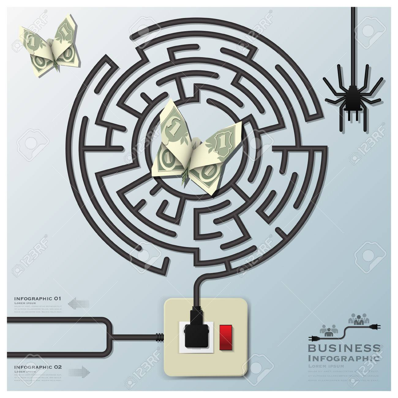 Maze Spider Web With Money Butterfly Electric Wire Line Business ...