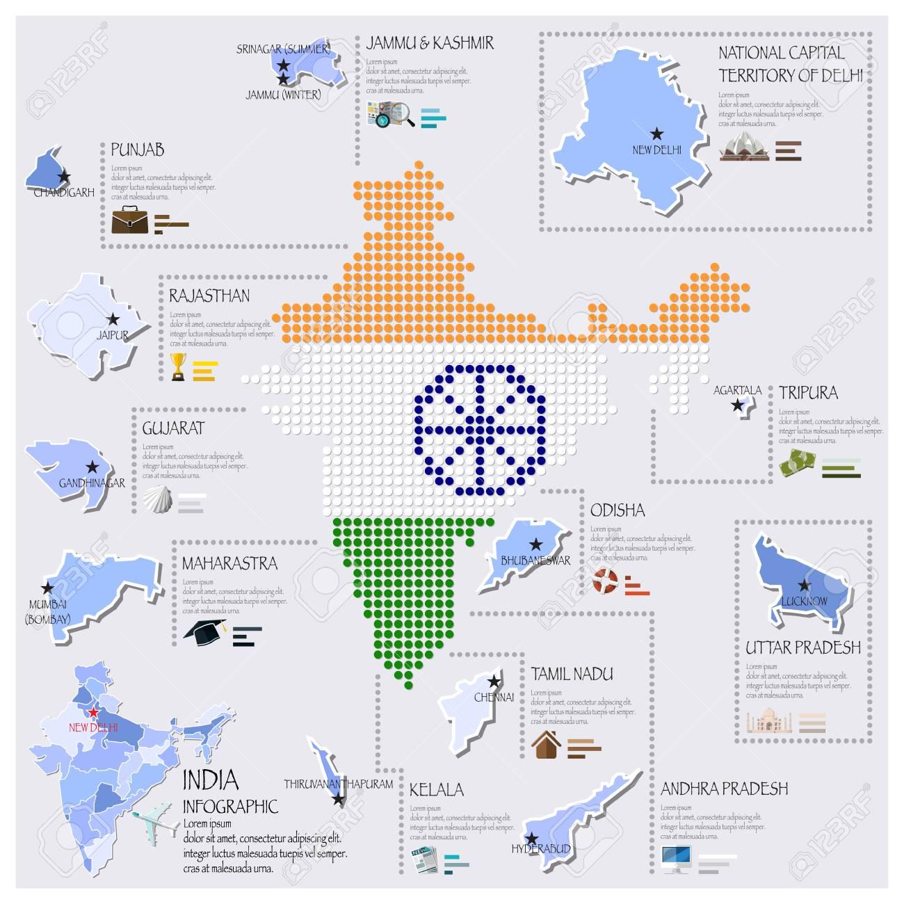 Dot Y La Bandera Mapa De La India Plantilla De Diseño Infografía ...