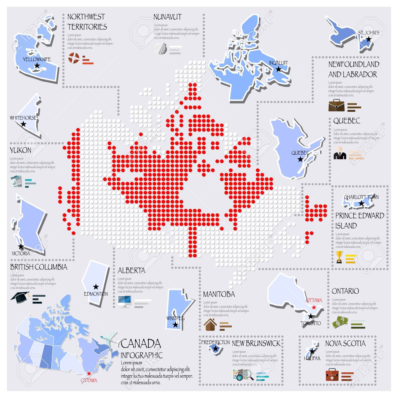 Map Of Canada Template.Dot And Flag Map Of Canada Infographic Design Template