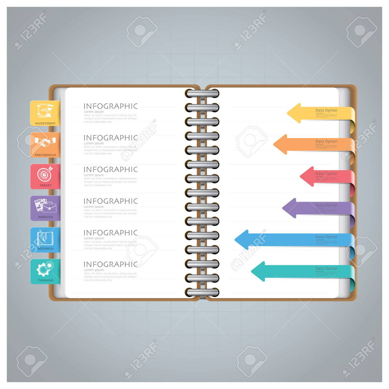 Business Infographic With Ring Notebook Arrow Bookmark Diagram ...