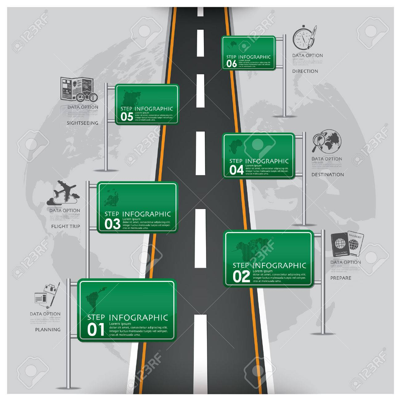 Road And Street Traffic Sign Business Travel Infographic Design
