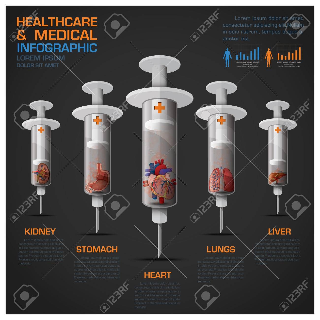 Asistencia Sanitaria Y Medicina Infografía Con La Jeringuilla De ...