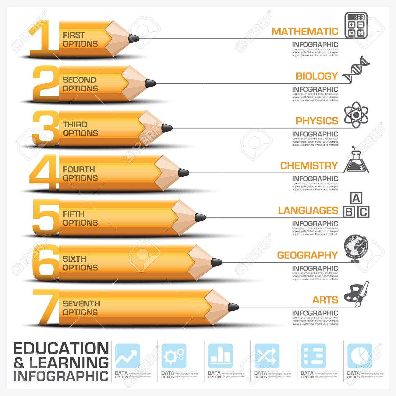 Education And Learning Step Infographic With Subject Of Pencil Diagram Vector Design Template Stock Vector - 40076712