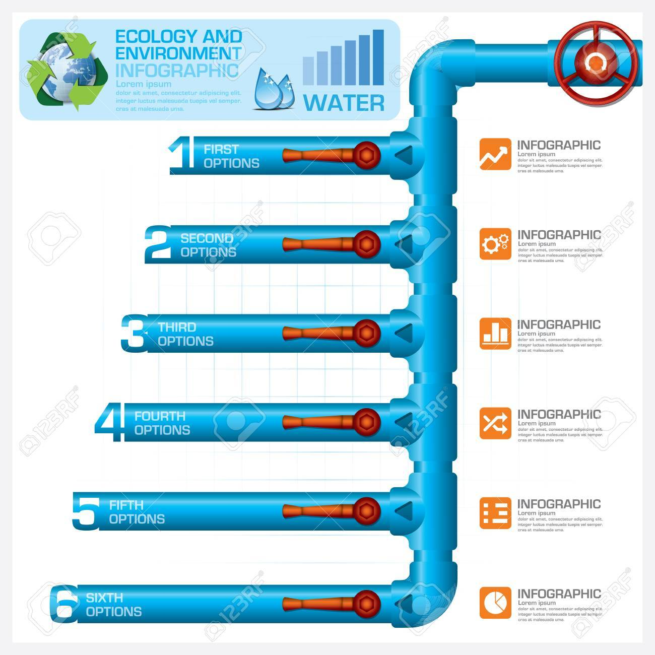 water pipeline ecology and environment business infographic vector