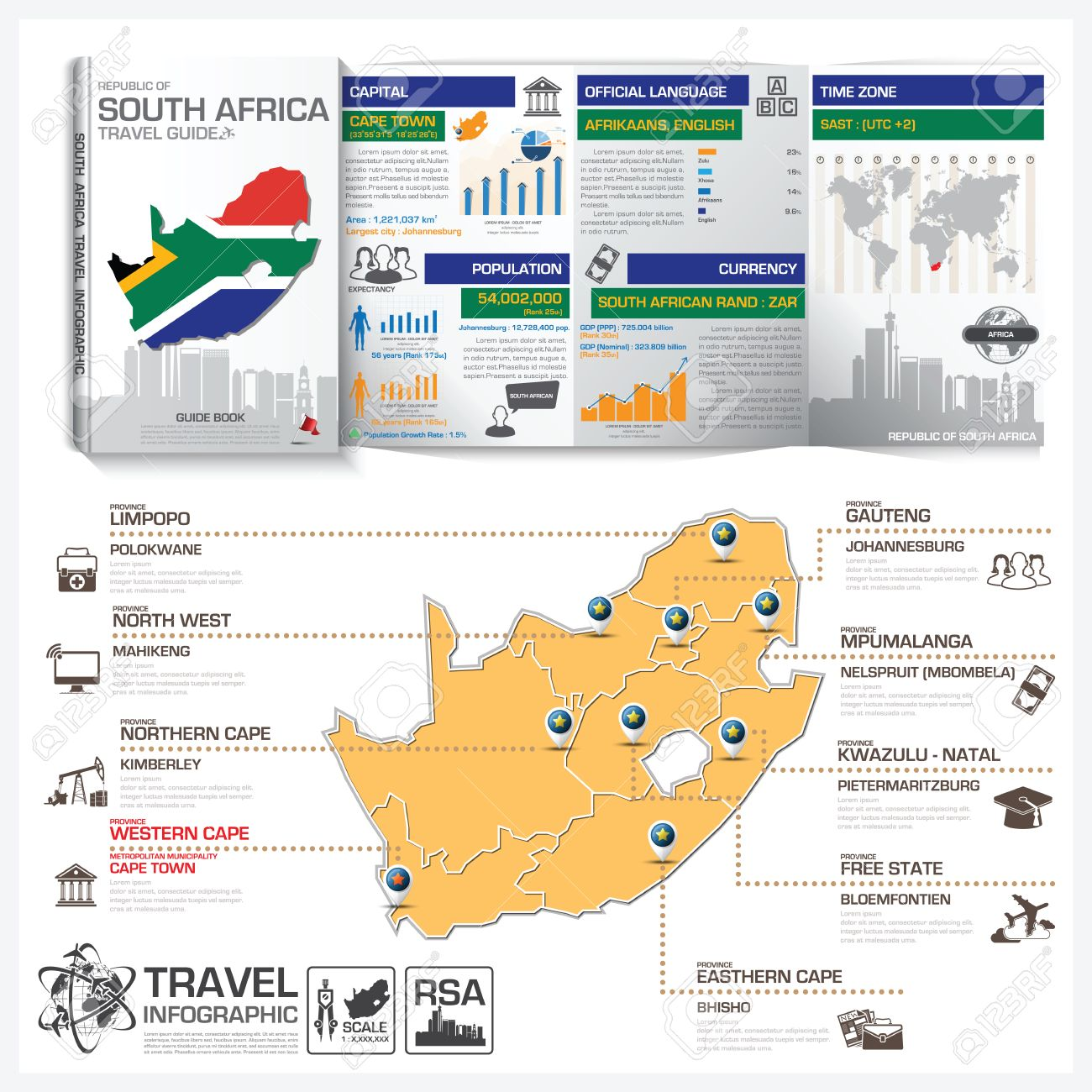 republic of south africa travel guide book business infographic