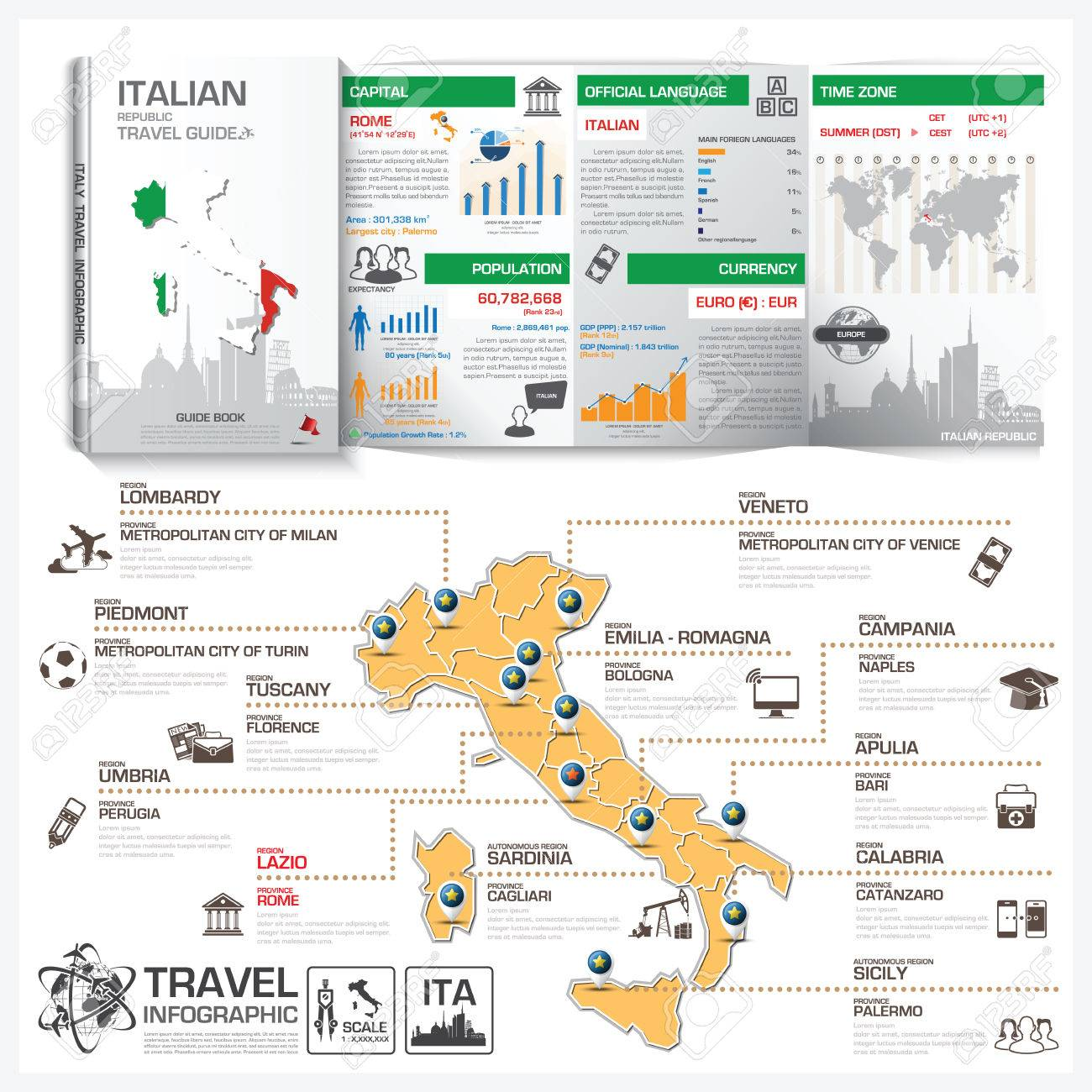 italian republic travel guide book business infographic with
