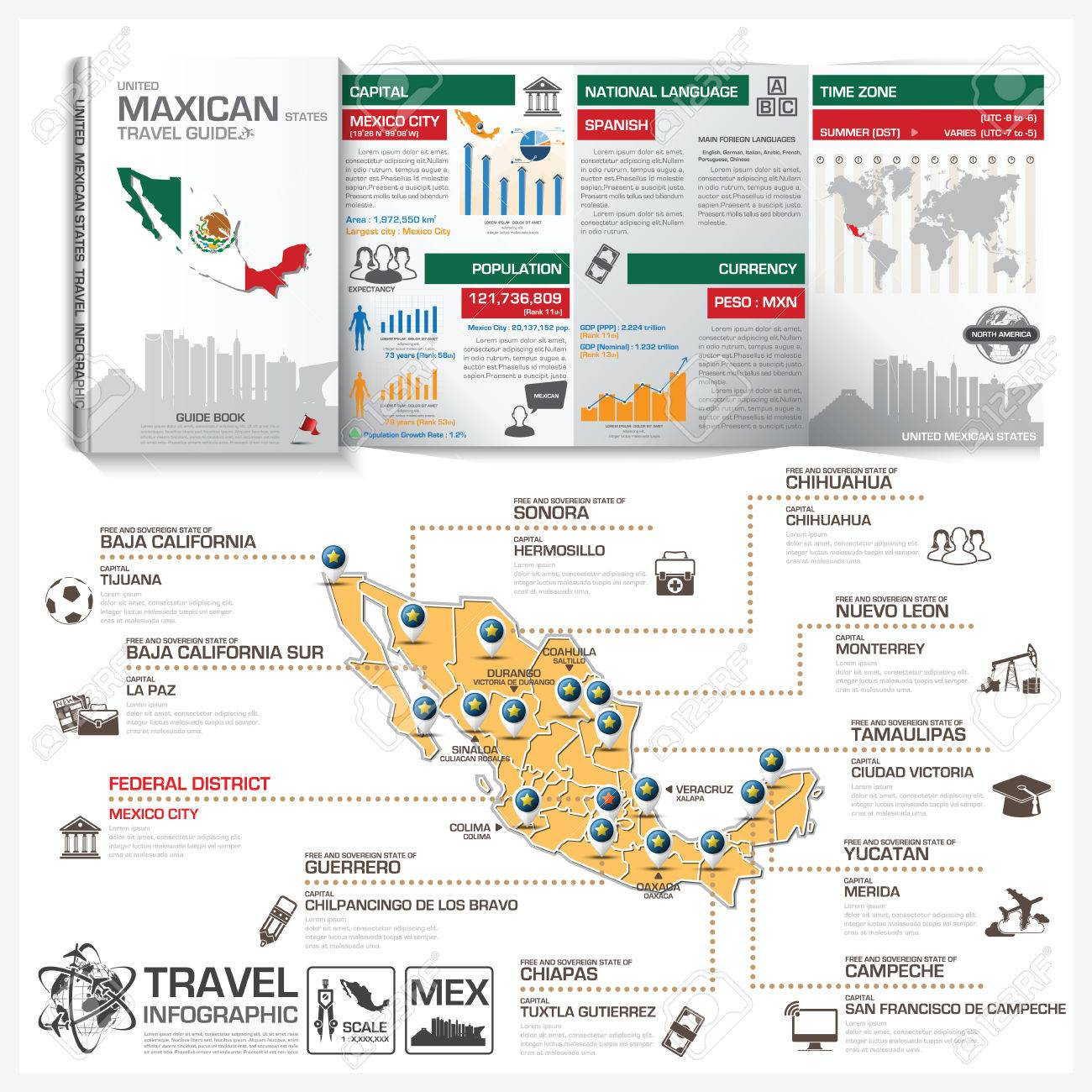 United Mexican States Travel Guide Book Business Infographic With Map  Vector Design Template Stock Vector -