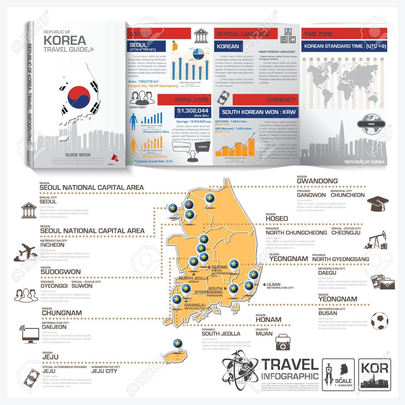 republic of korea travel guide book business infographic with