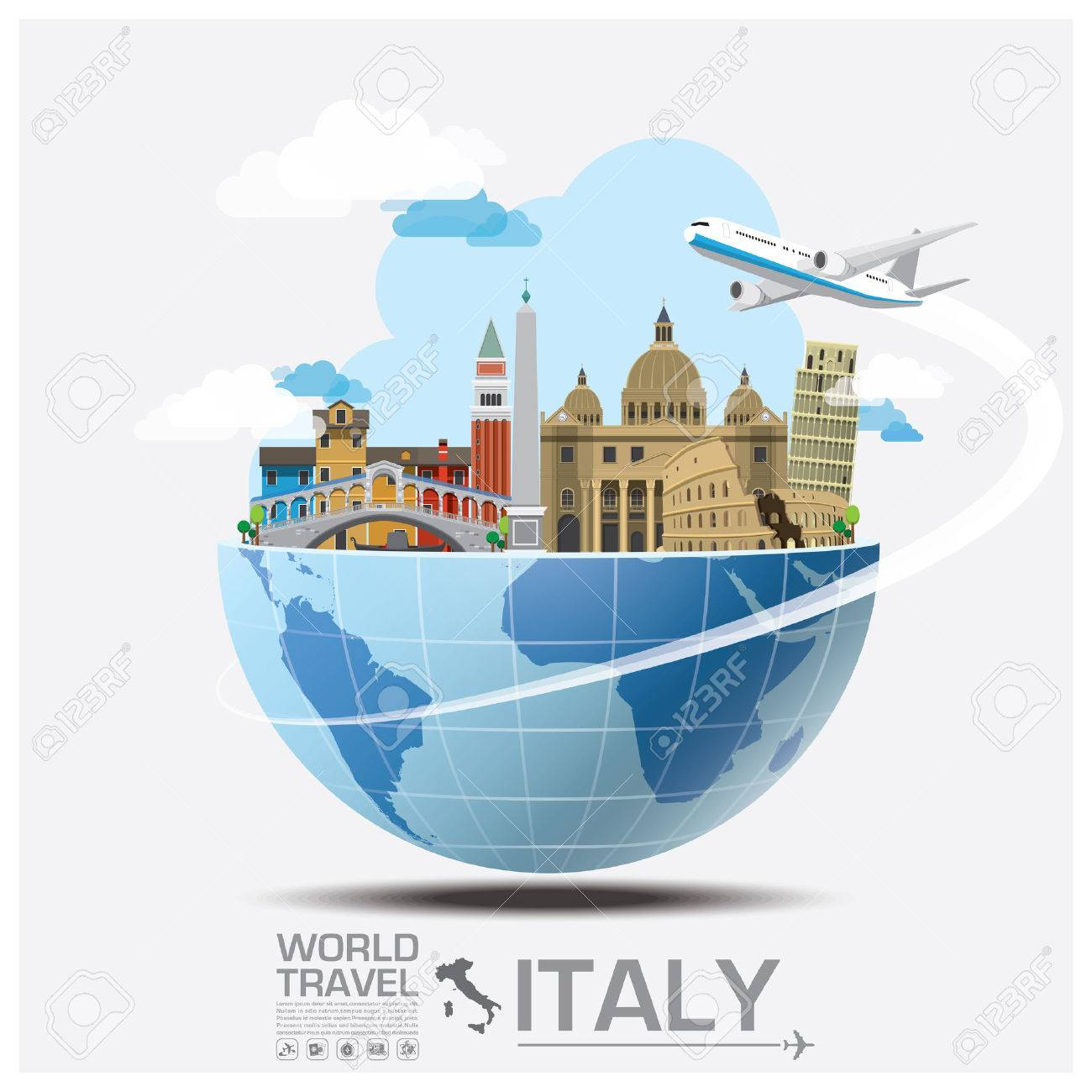Italy Landmark Global Travel And Journey Infographic Vector Design Template Stock Vector - 44969540